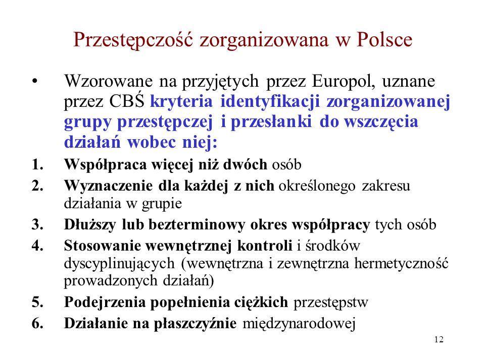 Przestępczość zorganizowana w Polsce Definicja zorganizowanej grupy przestępczej: Hierarchicznie zorganizowany związek przestępczy, powołany z chęci zysku, dla dokonywania ciągłych i różnorodnych przestępstw, zakładający osiąganie celów przez korupcję, szantaż, użycie siły i broni /według powołanej w 1994 r.