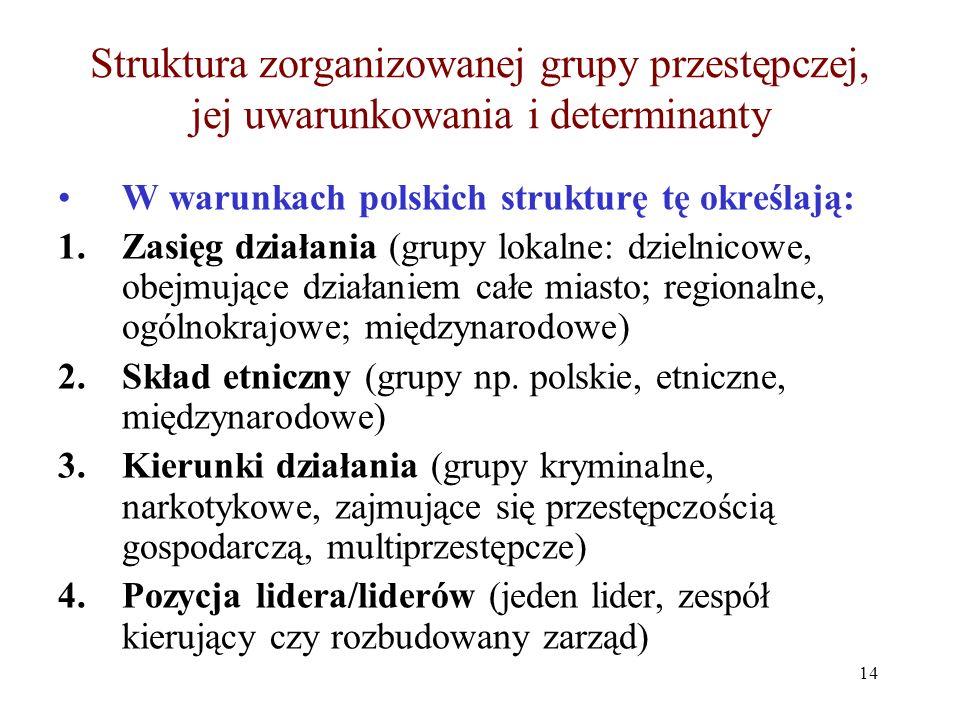 Przestępczość zorganizowana w Polsce 7.Stosowanie przemocy 8.Struktura grupy wzorowana na podmiotach gospodarczych (hierarchiczna); cechą jest też pomoc dla członków organizacji i ich rodzin… 9.Zaangażowanie w proces prania brudnych pieniędzy (lokowanie zysków w legalne przedsięwzięcia) 10.Uzyskanie wpływu na gremia polityczne i/lub gospodarcze, sądownicze, administracyjne 11.Działanie z chęci zysku i/lub osiągnięcia wpływu na władzę Biuro do walki z P.