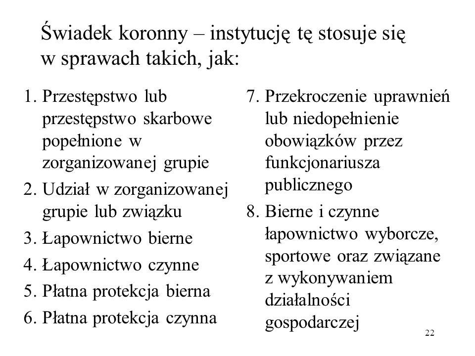 Świadek koronny Podstawą prawną są ustawy: o świadku koronnym z 1997 r.