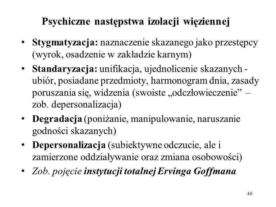 Problematyka kary pozbawienia wolności Funkcje prizonizacji: -psychol.