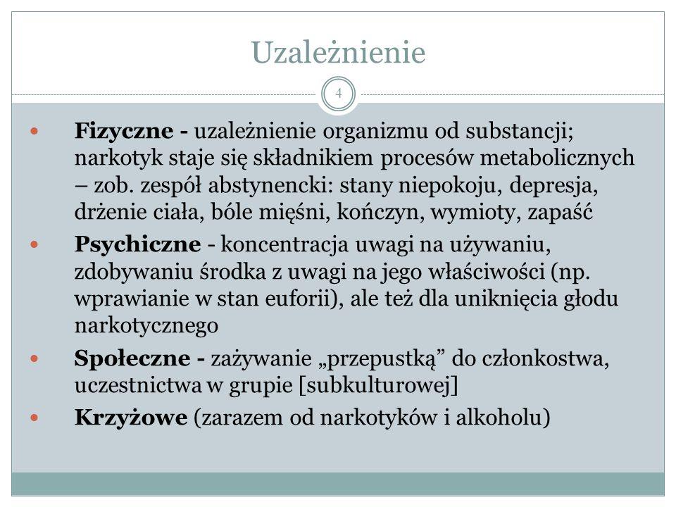 Środki odurzające 3 1.Narkotyki (środki odurzające sensu stricto), np.: morfina, kokaina, amfetamina, haszysz 2.Alkohol 3.Nikotyna 4.Kofeina, teina...