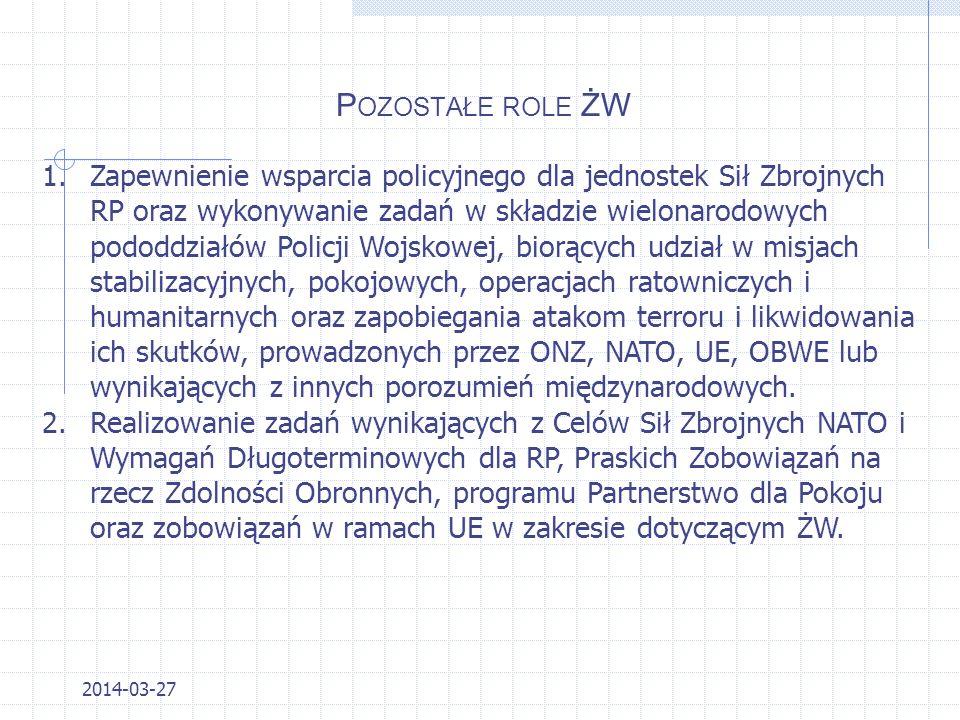 P OZOSTAŁE ROLE ŻW 2014-03-27 1.Zatrzymanie sprawców przestępstw posiadających broń, materiały wybuchowe, niebezpieczne narzędzia. 2.Poszukiwanie szcz