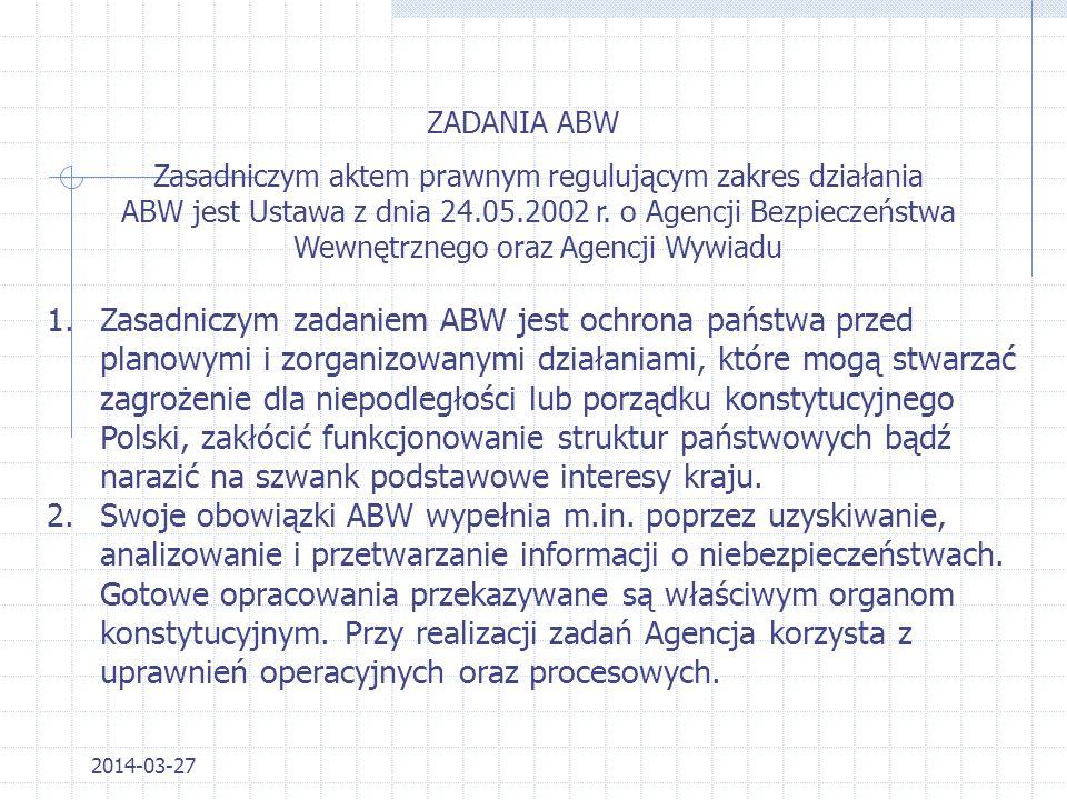 2014-03-27 STRUKTURA POZOSTAŁE JEDNOSTKI W RAMACH ABW 1.Centrum Antyterrorystyczne (CAT) 2.Biuro Prawne (Biuro A) 3.Biuro Badań Kryminalistycznych (Bi