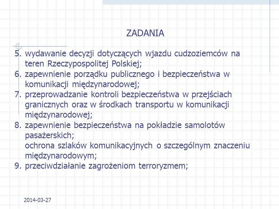 2014-03-27 Aktem prawnym regulującym zakres działania Straży Granicznej jest Ustawa z dnia 12 października 1990 r. o SG ZADANIA 1.ochrona granicy pańs