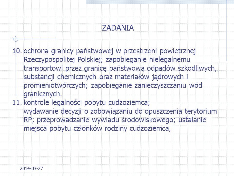 2014-03-27 ZADANIA 5.wydawanie decyzji dotyczących wjazdu cudzoziemców na teren Rzeczypospolitej Polskiej; 6.zapewnienie porządku publicznego i bezpie