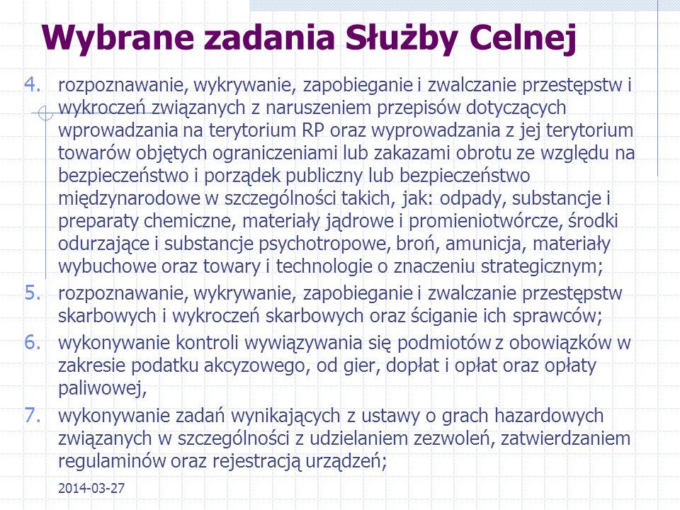 2014-03-27 Struktura organizacyjna Służby Celnej - stan na dzień 1.07.2013 r. Lp.Izba CelnaUrzędy celneOddziały celne (w tym gr.) 1Biała Podlaska317 (