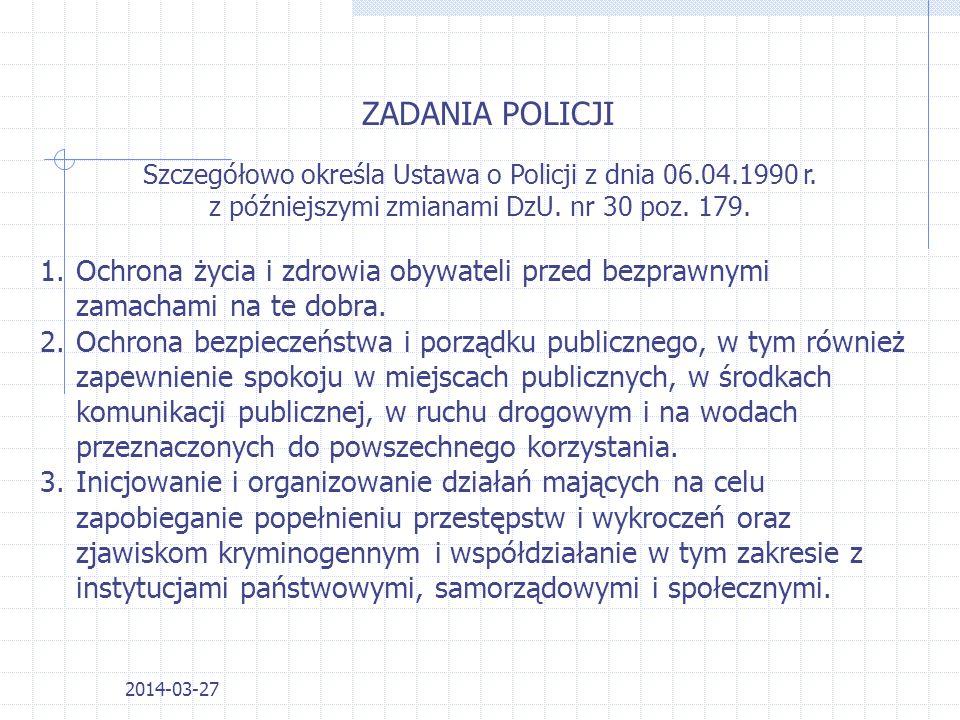 2014-03-27 ZADANIA POLICJI Szczegółowo określa Ustawa o Policji z dnia 06.04.1990 r.