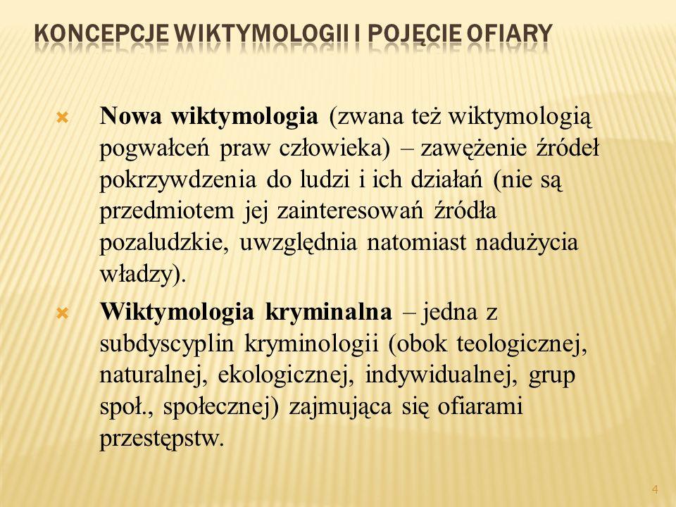 4 Nowa wiktymologia (zwana też wiktymologią pogwałceń praw człowieka) – zawężenie źródeł pokrzywdzenia do ludzi i ich działań (nie są przedmiotem jej zainteresowań źródła pozaludzkie, uwzględnia natomiast nadużycia władzy).