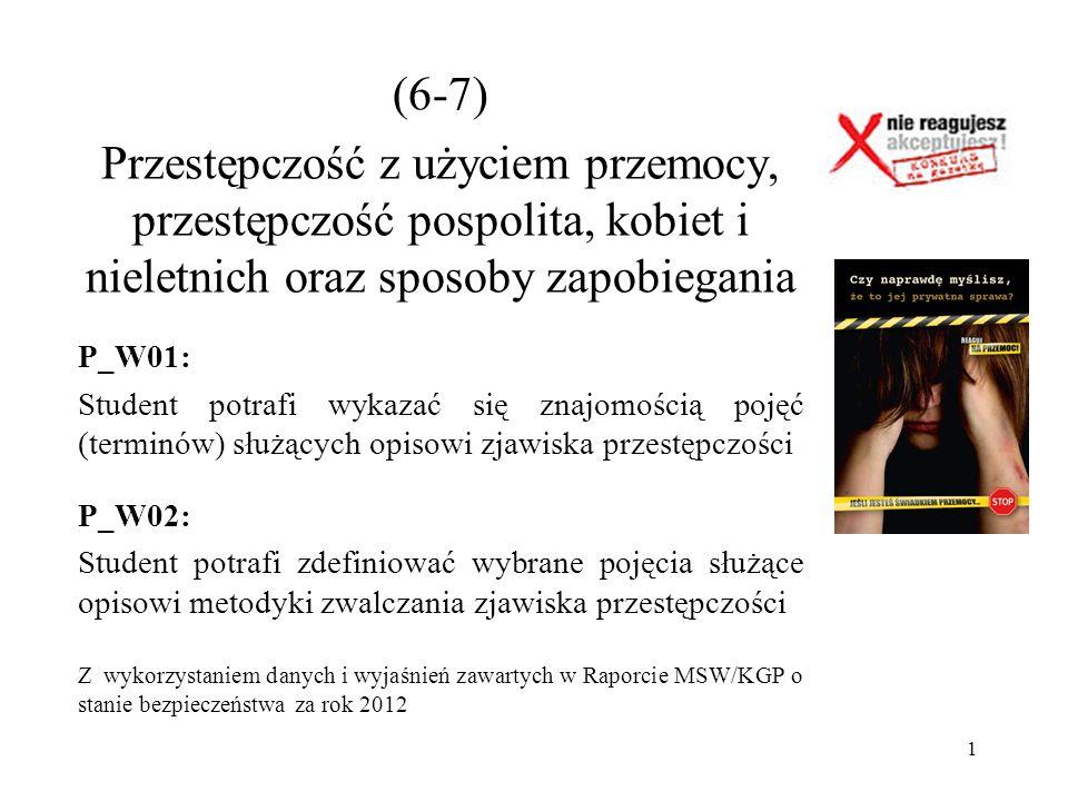 1 (6-7) Przestępczość z użyciem przemocy, przestępczość pospolita, kobiet i nieletnich oraz sposoby zapobiegania P_W01: Student potrafi wykazać się zn