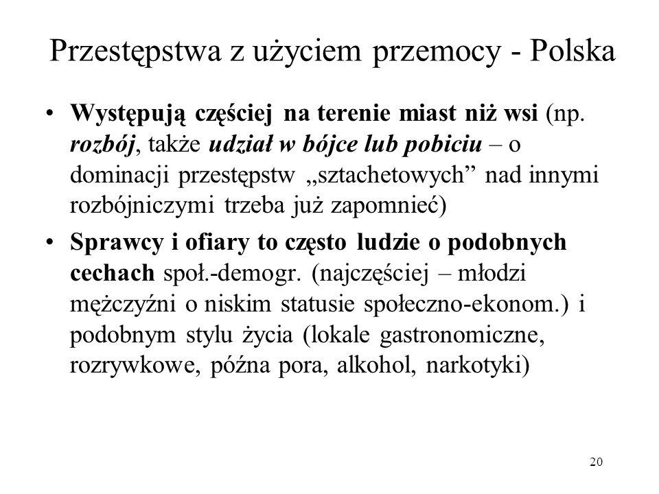 20 Przestępstwa z użyciem przemocy - Polska Występują częściej na terenie miast niż wsi (np. rozbój, także udział w bójce lub pobiciu – o dominacji pr
