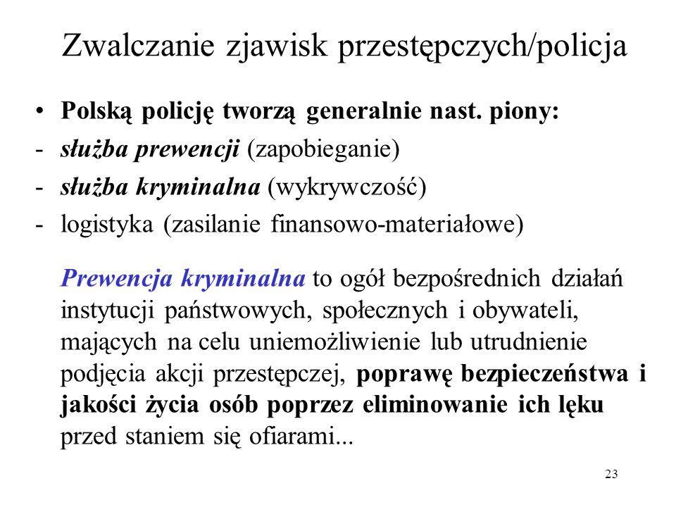 23 Zwalczanie zjawisk przestępczych/policja Polską policję tworzą generalnie nast. piony: -służba prewencji (zapobieganie) -służba kryminalna (wykrywc