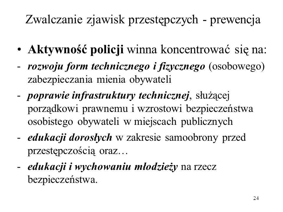 24 Zwalczanie zjawisk przestępczych - prewencja Aktywność policji winna koncentrować się na: -rozwoju form technicznego i fizycznego (osobowego) zabez