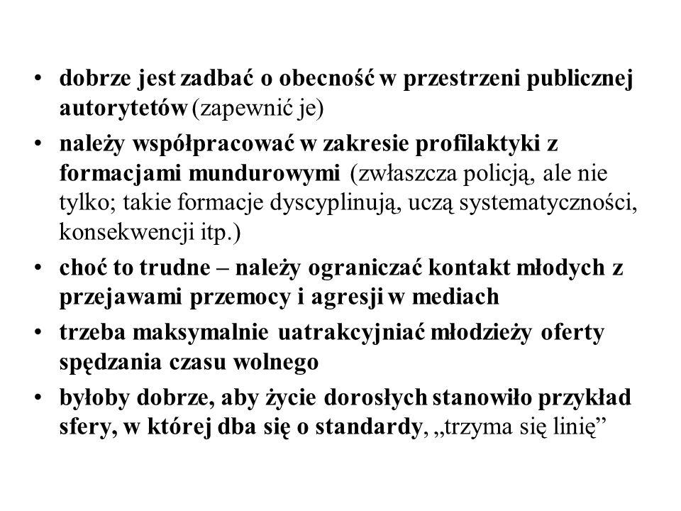 dobrze jest zadbać o obecność w przestrzeni publicznej autorytetów (zapewnić je) należy współpracować w zakresie profilaktyki z formacjami mundurowymi