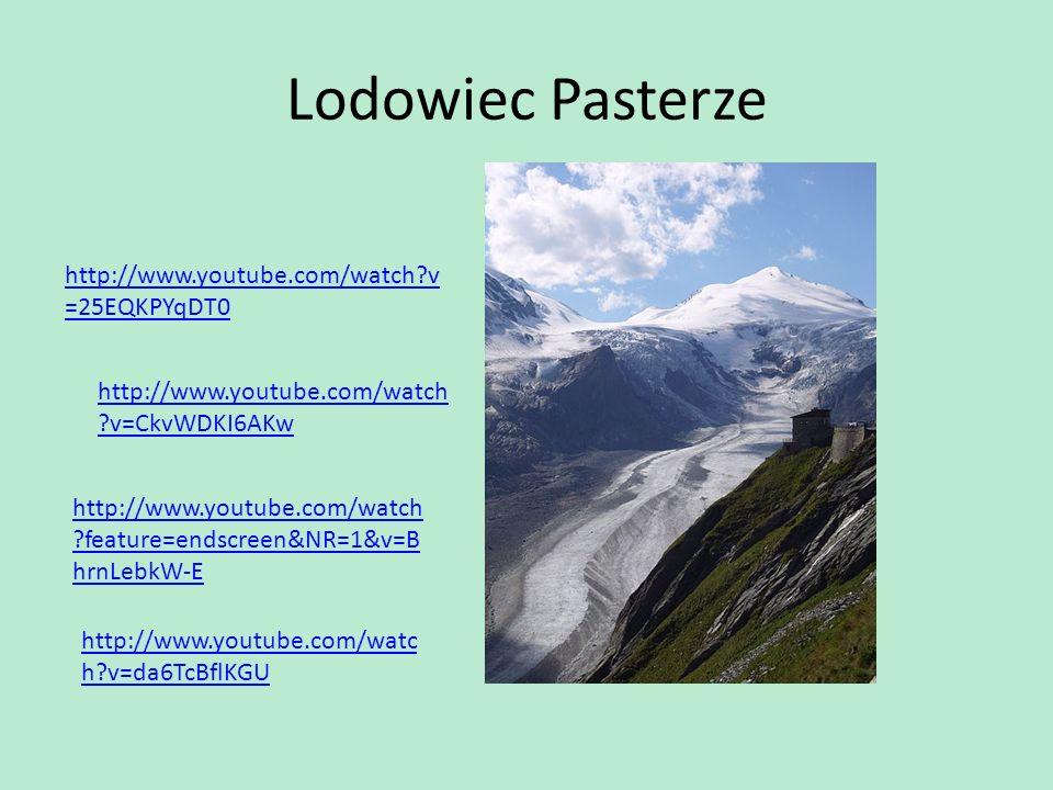 Lodowiec Pasterze http://www.youtube.com/watch?v =25EQKPYqDT0 http://www.youtube.com/watch ?v=CkvWDKI6AKw http://www.youtube.com/watch ?feature=endscr