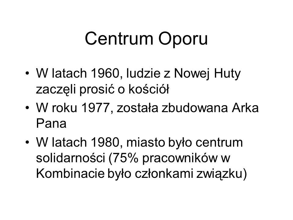 Centrum Oporu W latach 1960, ludzie z Nowej Huty zaczęli prosić o kościół W roku 1977, została zbudowana Arka Pana W latach 1980, miasto było centrum