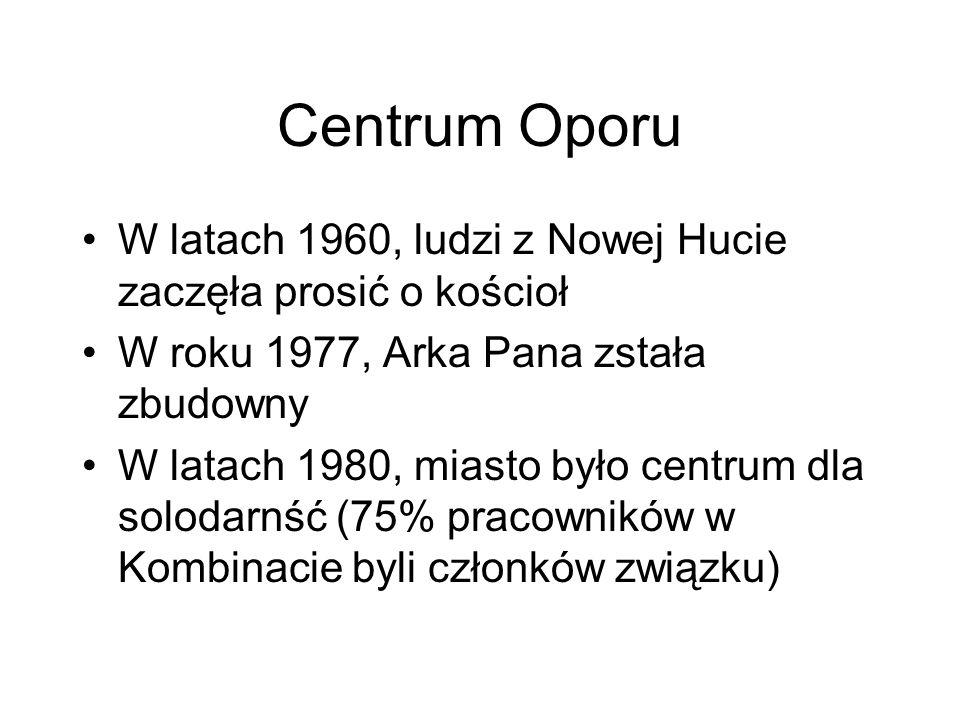 Centrum Oporu W latach 1960, ludzi z Nowej Hucie zaczęła prosić o kościoł W roku 1977, Arka Pana zstała zbudowny W latach 1980, miasto było centrum dl