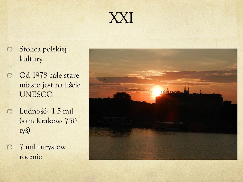 XXI Stolica polskiej kultury Od 1978 ca ł e stare miasto jest na li ś cie UNESCO Ludno ść - 1.5 mil (sam Kraków- 750 ty ś ) 7 mil turystów rocznie