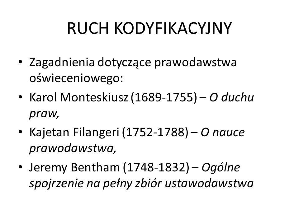 RUCH KODYFIKACYJNY Zagadnienia dotyczące prawodawstwa oświeceniowego: Karol Monteskiusz (1689-1755) – O duchu praw, Kajetan Filangeri (1752-1788) – O nauce prawodawstwa, Jeremy Bentham (1748-1832) – Ogólne spojrzenie na pełny zbiór ustawodawstwa