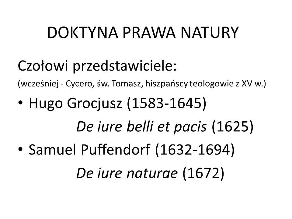 DOKTYNA PRAWA NATURY Czołowi przedstawiciele: (wcześniej - Cycero, św.