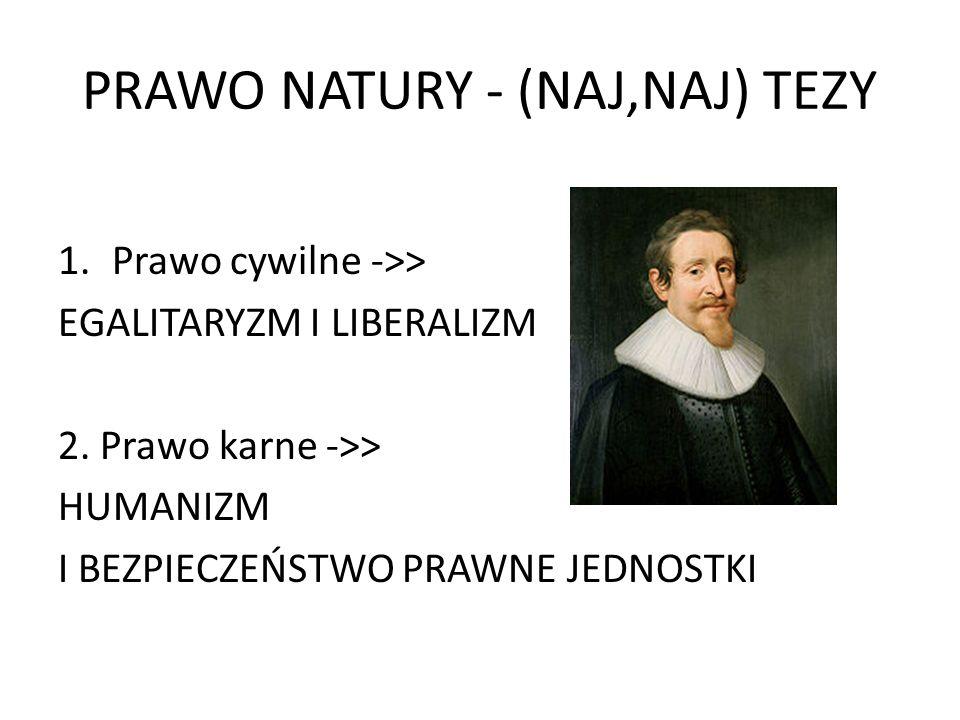 PRAWO NATURY – TEZY Najważniejsze tezy: równość i wolność, a nadto: Zasada nienaruszalności własności prywatnej, Obowiązek wynagrodzenia wyrządzonej szkody, Dotrzymywanie umów (pacta sunt servanda), Obowiązek ukarania sprawcy przestępstwa.