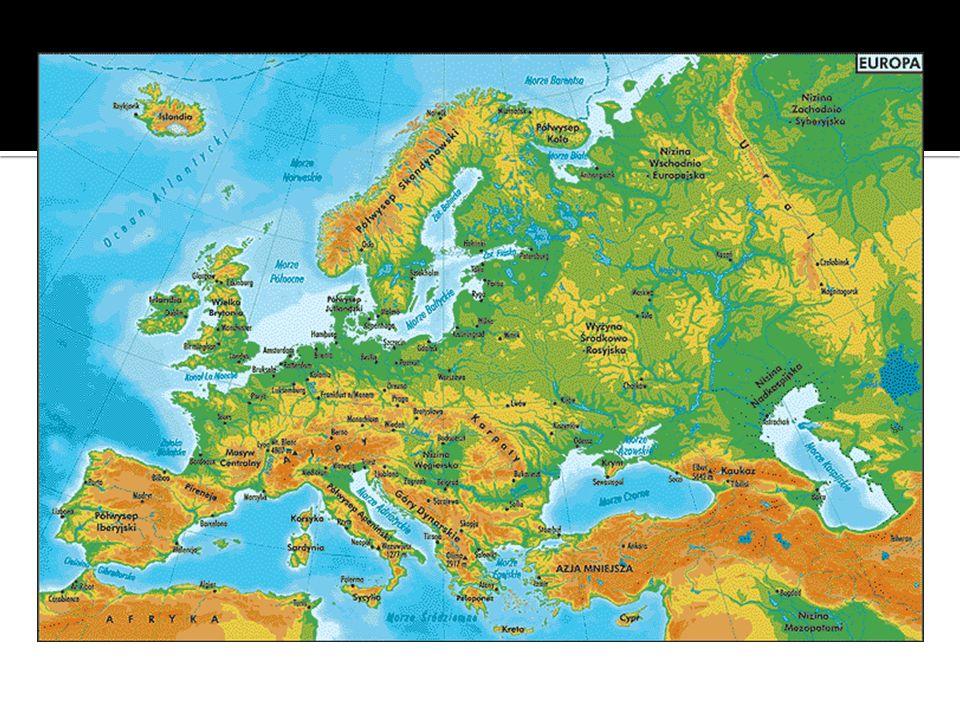 Nizinna Europa wschodnia Wyżynna Europa zachodnia Najwyższy szczyt - Mount Blanc – 4807 m n.p.m.