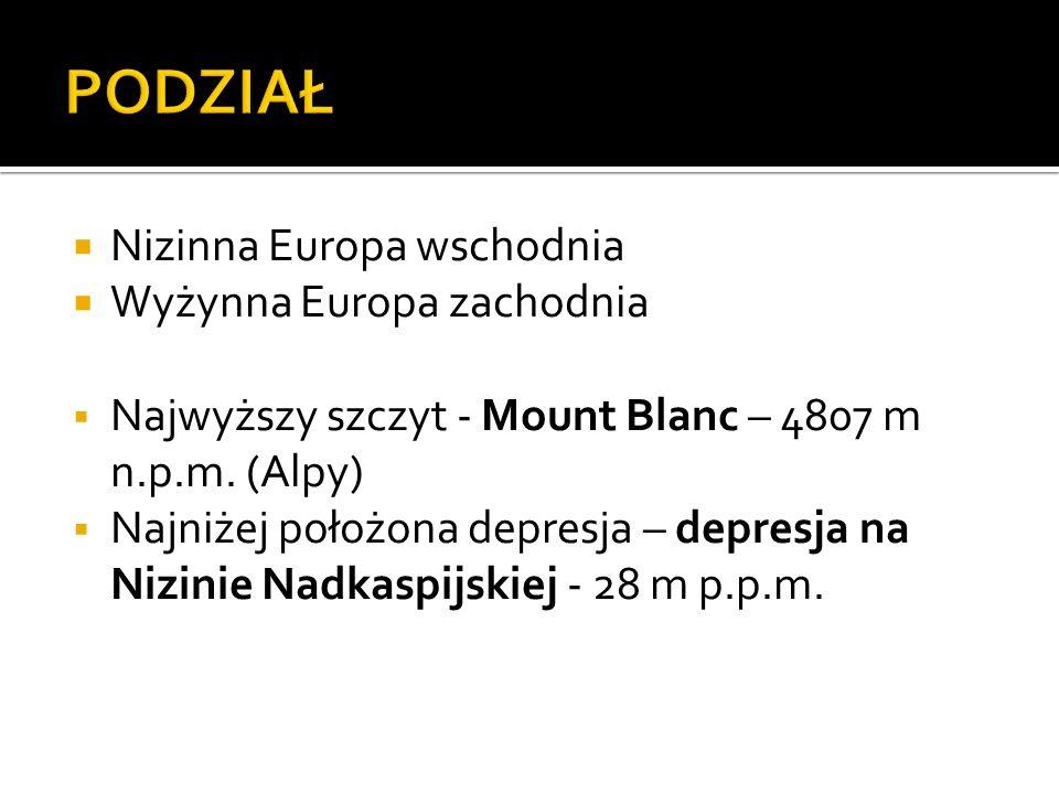 Nizinna Europa wschodnia Wyżynna Europa zachodnia Najwyższy szczyt - Mount Blanc – 4807 m n.p.m. (Alpy) Najniżej położona depresja – depresja na Nizin