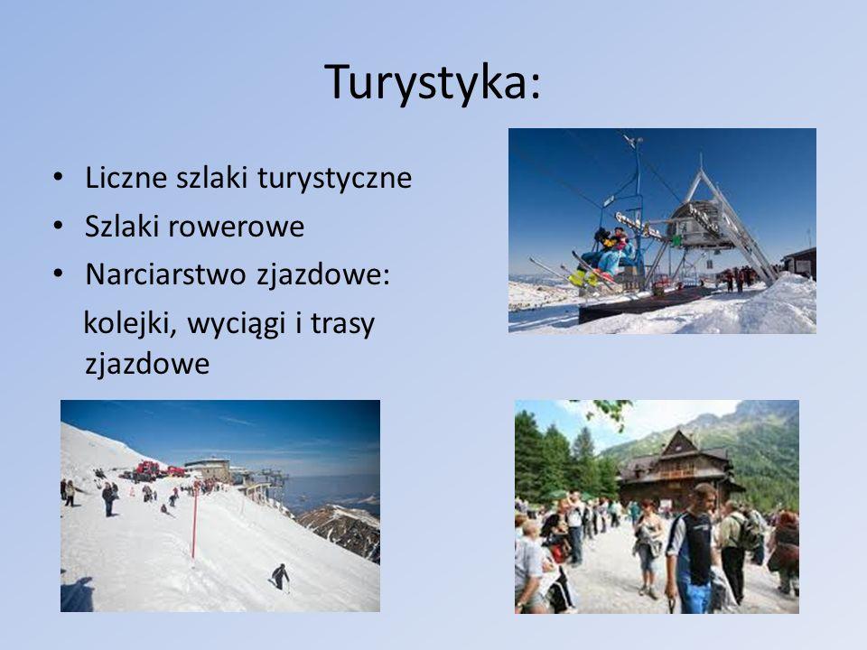 Turystyka: Liczne szlaki turystyczne Szlaki rowerowe Narciarstwo zjazdowe: kolejki, wyciągi i trasy zjazdowe