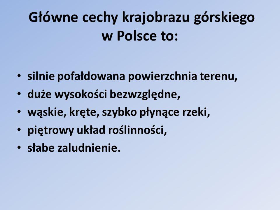 Główne cechy krajobrazu górskiego w Polsce to: silnie pofałdowana powierzchnia terenu, duże wysokości bezwzględne, wąskie, kręte, szybko płynące rzeki