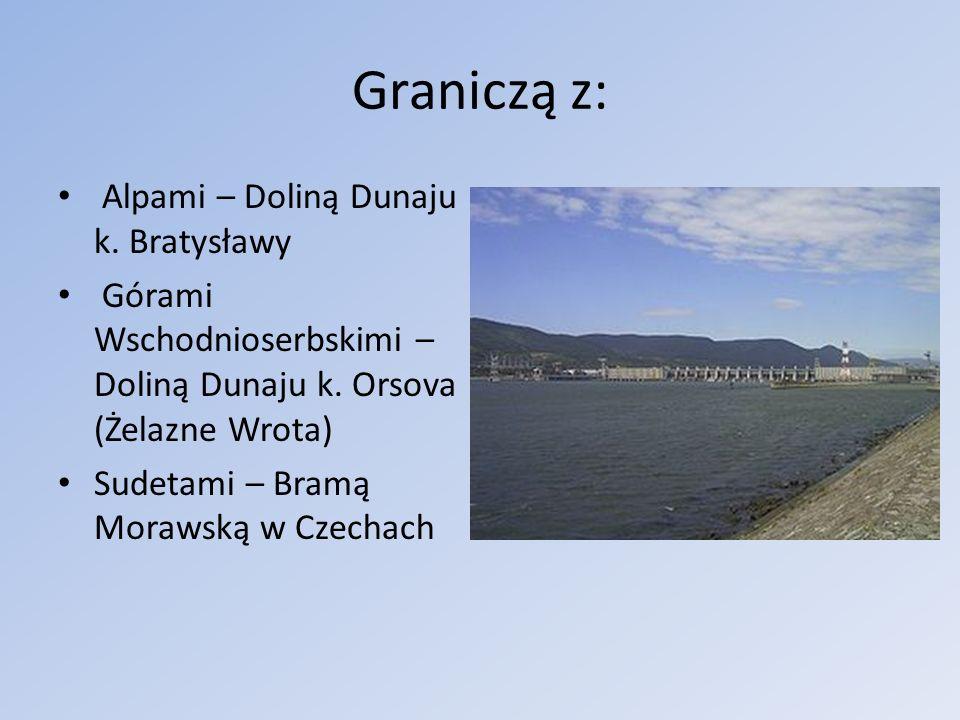 Graniczą z: Alpami – Doliną Dunaju k. Bratysławy Górami Wschodnioserbskimi – Doliną Dunaju k. Orsova (Żelazne Wrota) Sudetami – Bramą Morawską w Czech
