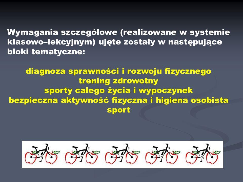 Wymagania szczegółowe (realizowane w systemie klasowo–lekcyjnym) ujęte zostały w następujące bloki tematyczne: diagnoza sprawności i rozwoju fizycznego trening zdrowotny sporty całego życia i wypoczynek bezpieczna aktywność fizyczna i higiena osobista sport