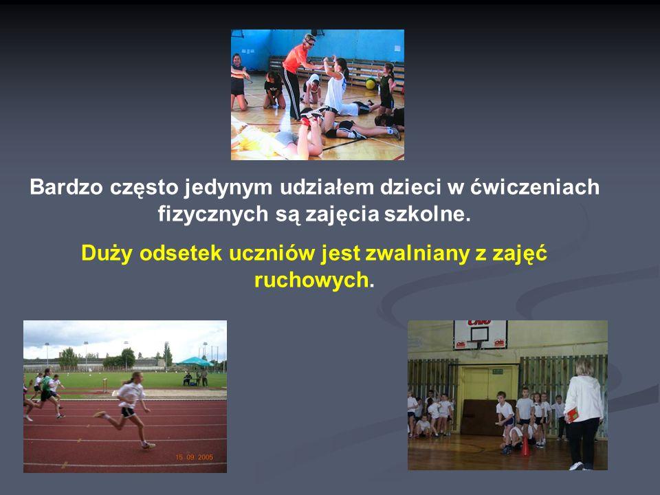 Bardzo często jedynym udziałem dzieci w ćwiczeniach fizycznych są zajęcia szkolne.
