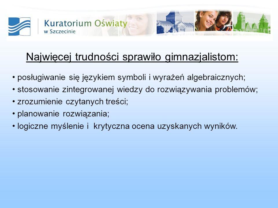 Najwięcej trudności sprawiło gimnazjalistom: posługiwanie się językiem symboli i wyrażeń algebraicznych; stosowanie zintegrowanej wiedzy do rozwiązywa