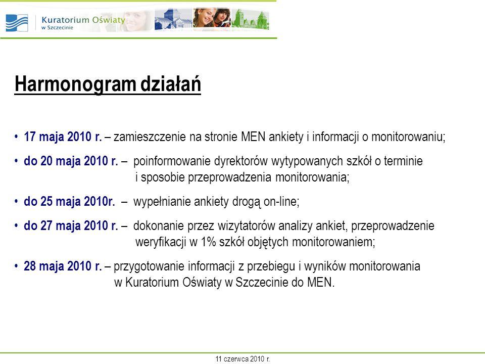 Harmonogram działań 17 maja 2010 r.