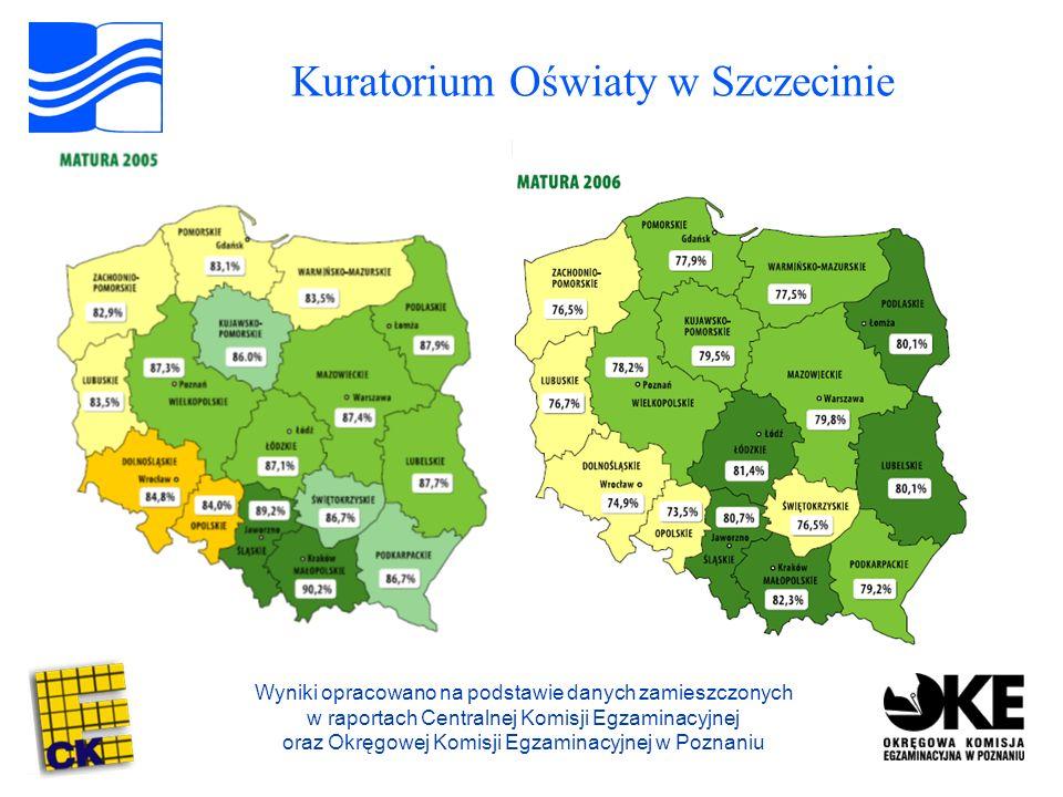 Kuratorium Oświaty w Szczecinie Wyniki opracowano na podstawie danych zamieszczonych w raportach Centralnej Komisji Egzaminacyjnej oraz Okręgowej Komisji Egzaminacyjnej w Poznaniu