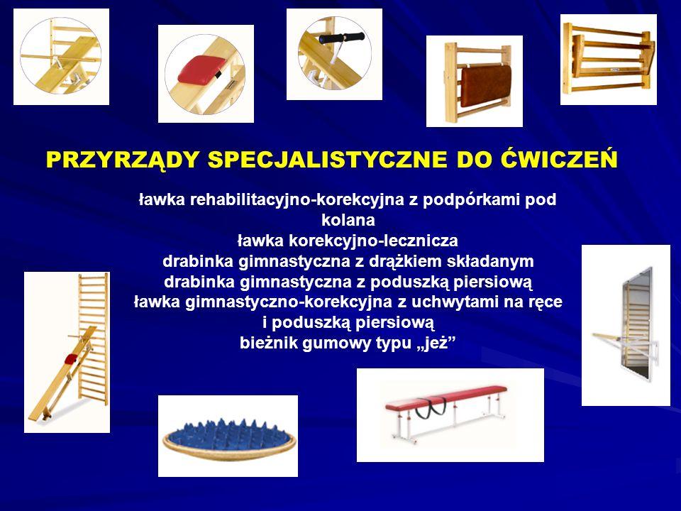 ławka rehabilitacyjno-korekcyjna z podpórkami pod kolana ławka korekcyjno-lecznicza drabinka gimnastyczna z drążkiem składanym drabinka gimnastyczna z