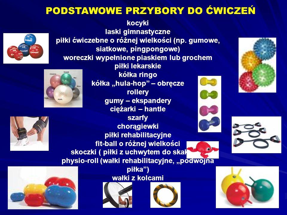kocyki laski gimnastyczne piłki ćwiczebne o różnej wielkości (np. gumowe, siatkowe, pingpongowe) woreczki wypełnione piaskiem lub grochem piłki lekars