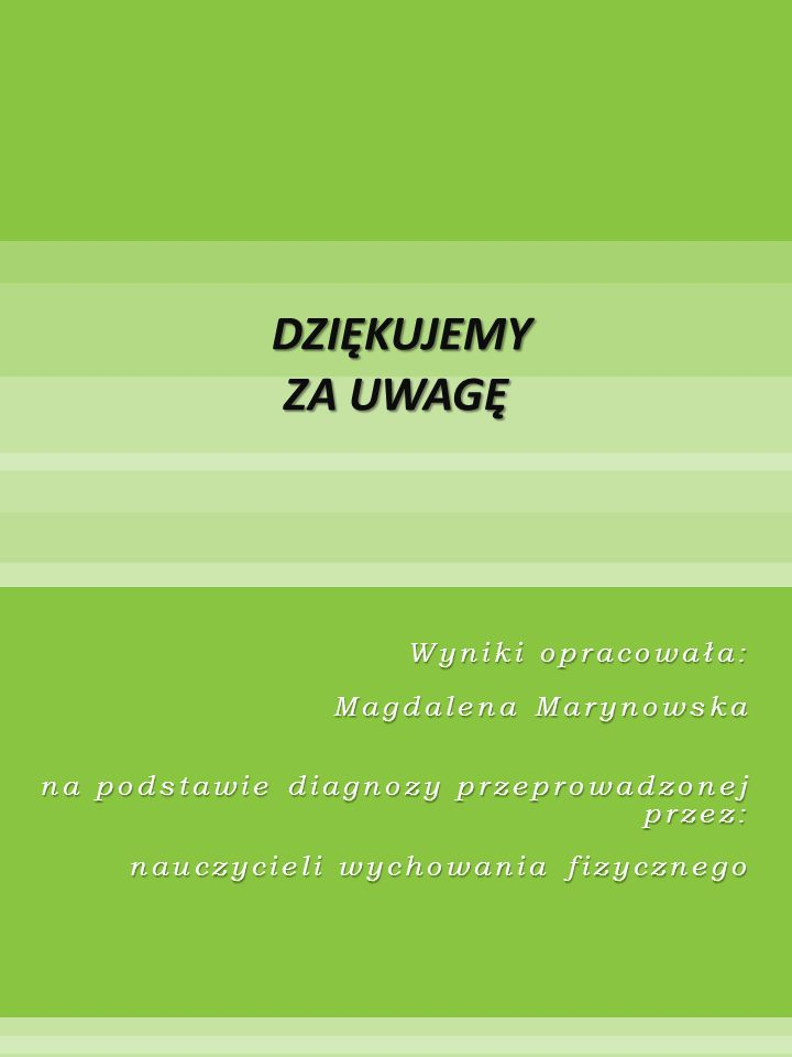 Wyniki opracowała: Magdalena Marynowska na podstawie diagnozy przeprowadzonej przez: nauczycieli wychowania fizycznego