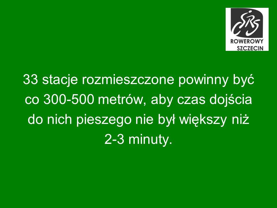 33 stacje rozmieszczone powinny być co 300-500 metrów, aby czas dojścia do nich pieszego nie był większy niż 2-3 minuty.