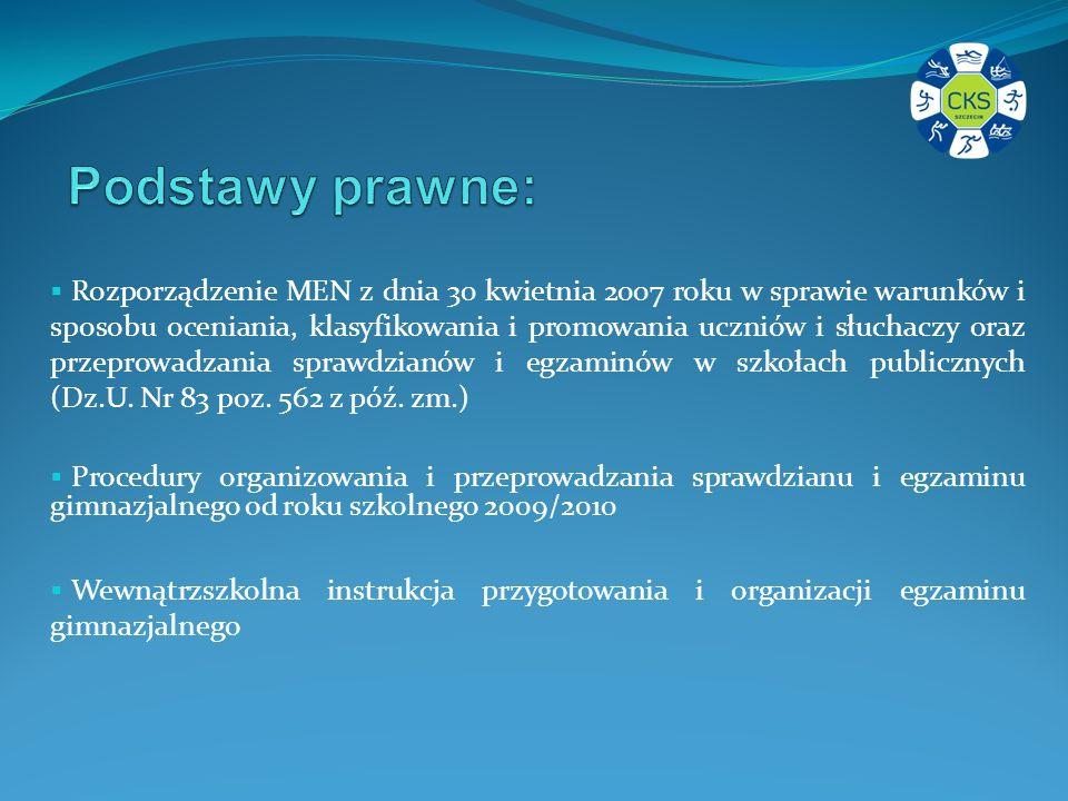 Rozporządzenie MEN z dnia 30 kwietnia 2007 roku w sprawie warunków i sposobu oceniania, klasyfikowania i promowania uczniów i słuchaczy oraz przeprowadzania sprawdzianów i egzaminów w szkołach publicznych (Dz.U.