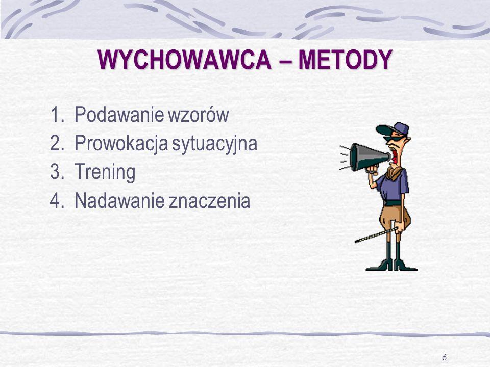 6 WYCHOWAWCA – METODY 1.Podawanie wzorów 2.Prowokacja sytuacyjna 3.Trening 4.Nadawanie znaczenia