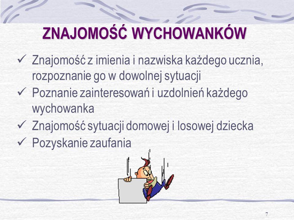 7 ZNAJOMOŚĆ WYCHOWANKÓW Znajomość z imienia i nazwiska każdego ucznia, rozpoznanie go w dowolnej sytuacji Poznanie zainteresowań i uzdolnień każdego w