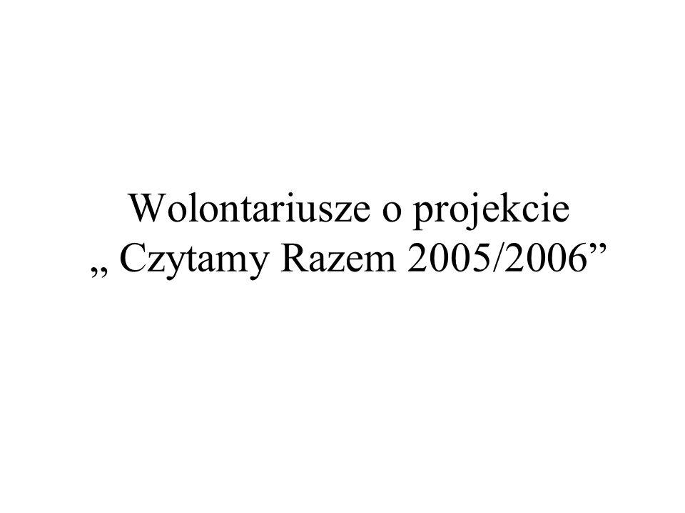 Wolontariusze o projekcie Czytamy Razem 2005/2006