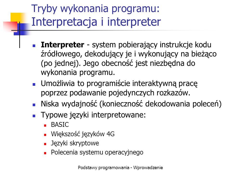 Podstawy programowania - Wprowadzenie Tryby wykonania programu: Interpretacja i interpreter Interpreter - system pobierający instrukcje kodu źródłoweg