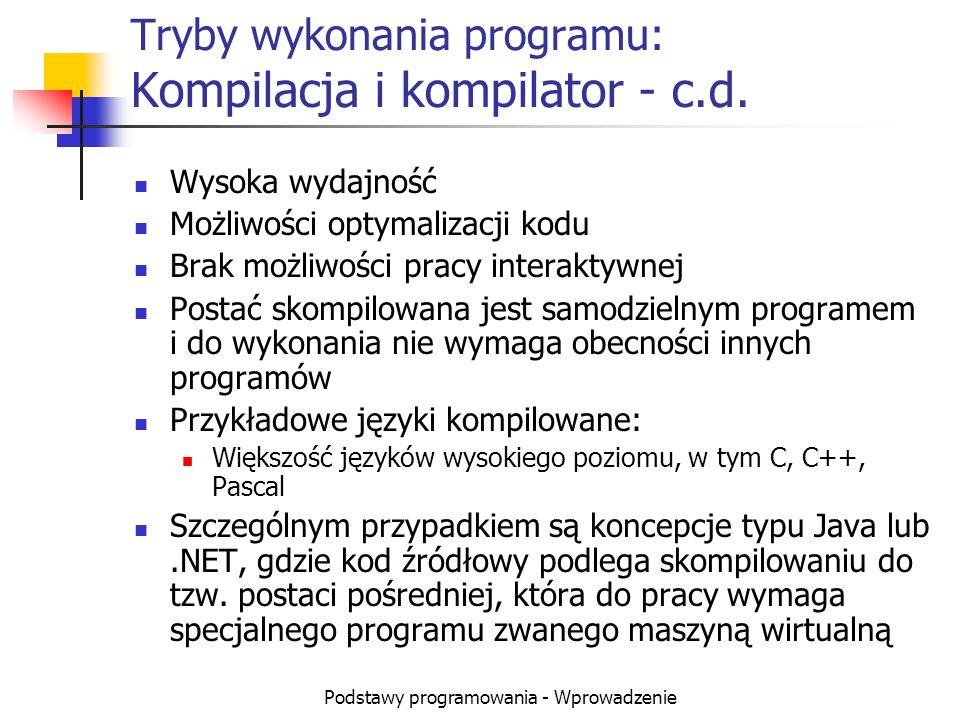 Podstawy programowania - Wprowadzenie Tryby wykonania programu: Kompilacja i kompilator - c.d. Wysoka wydajność Możliwości optymalizacji kodu Brak moż