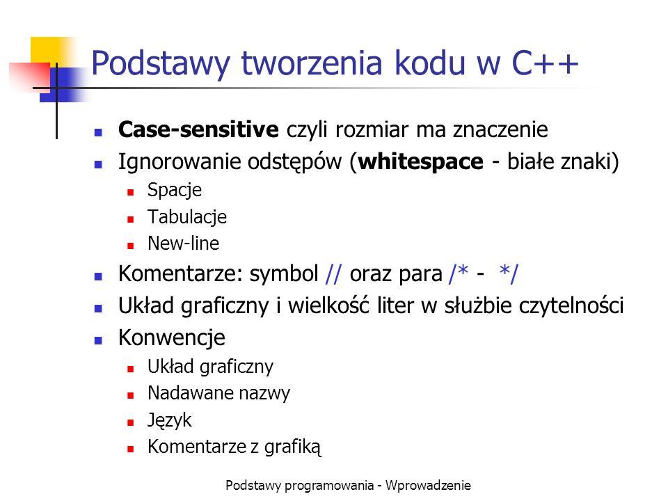 Podstawy programowania - Wprowadzenie Podstawy tworzenia kodu w C++ Case-sensitive czyli rozmiar ma znaczenie Ignorowanie odstępów (whitespace - białe