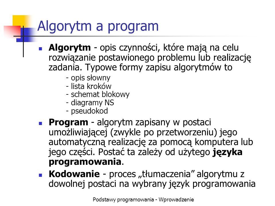 Podstawy programowania - Wprowadzenie Algorytm a program Algorytm - opis czynności, które mają na celu rozwiązanie postawionego problemu lub realizacj