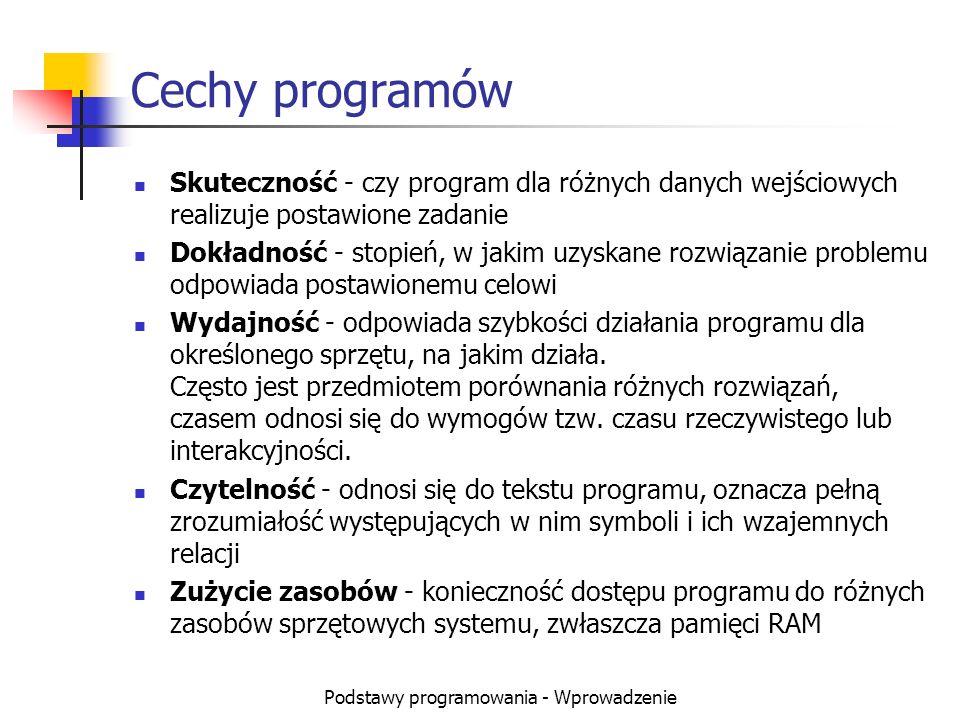 Podstawy programowania - Wprowadzenie Cechy programów Skuteczność - czy program dla różnych danych wejściowych realizuje postawione zadanie Dokładność