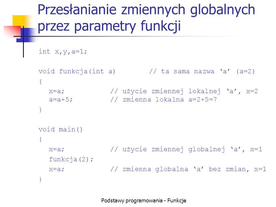 Podstawy programowania - Funkcje Przesłanianie zmiennych globalnych przez parametry funkcji int x,y,a=1; void funkcja(int a)// ta sama nazwa a (a=2) {