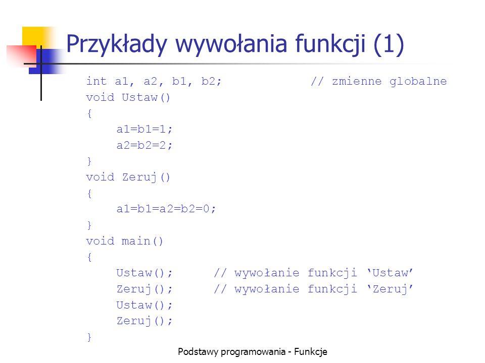 Podstawy programowania - Funkcje Przykłady wywołania funkcji (2) float pi() // ta funkcja musi być pierwsza { return 3.1415; } float dwapi() { return 2* pi(); // wywołanie pi } void main() { float Pole, Obwod, r=5; Pole = pi() * r*r;// wywołanie pi Obwod= dwapi() * r;// wywołanie dwapi }