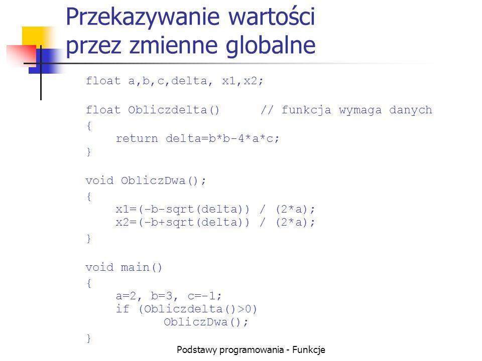Podstawy programowania - Funkcje Przekazywanie wartości przez zmienne globalne float a,b,c,delta, x1,x2; float Obliczdelta()// funkcja wymaga danych {